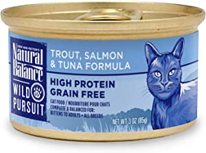 Natural Balance Wild Pursuit High Protein Canned Cat Food, Trout, Salmon & Tuna Formula, Grain Free, 3-Ounce Cans (Case of 24)
