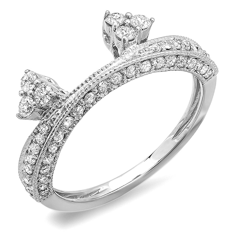 0.50 Carat (ctw) 14K White Gold Round Diamond Ladies Anniversary Wedding Band Enhancer Guard 1/2 CT