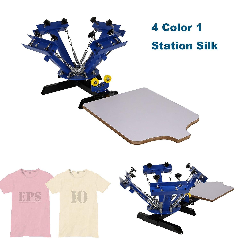"Iglobalbuy 4 Color 1 Station 21.7""x17.7"" Silk Screen Printing Machine Press Equipment for T-Shirt Blue Iglobalbuy Ltd"