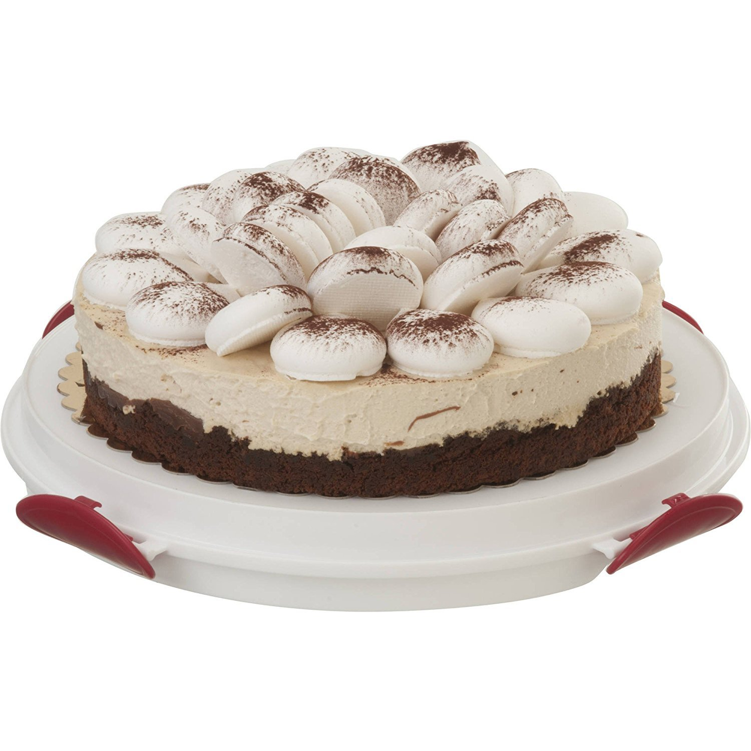 ''Clear Cake Carrier with Tight Clasping Latches, Accommodates two 9'''' round cakes, 24 cupcakes and 20 cake pops '' (3)