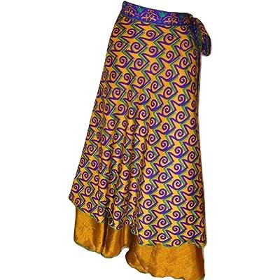 Dancers World ltd Falda mágica Reversible Hecha a Mano de Seda India, Falda mágica, Falda de Seda Sari, Parte Superior o Vestido - 36 Pulgadas de caída T54 Talla única: Ropa y accesorios