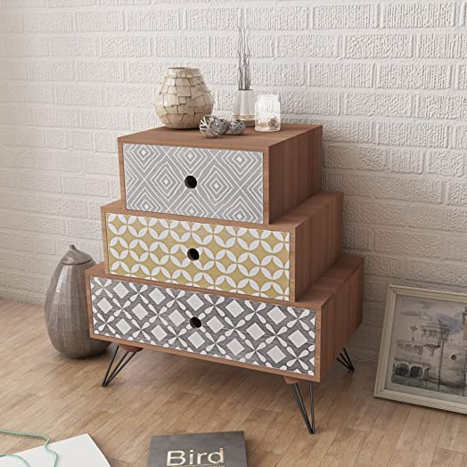 bedroom table. Anself Bedside Cabinet 3 Drawers Chest of Bedroom Table Furniture  Brown