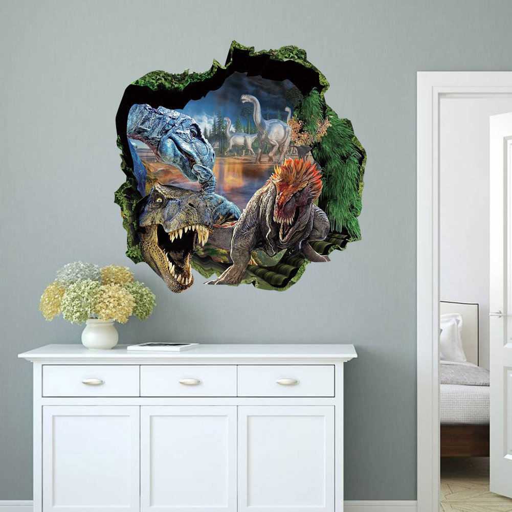 Topme D Dinosaurs Through The Wall Stickers Jurassic Park Home - 3d dinosaur wall decalsd dinosaur wall stickers for kids bedrooms jurassic world wall