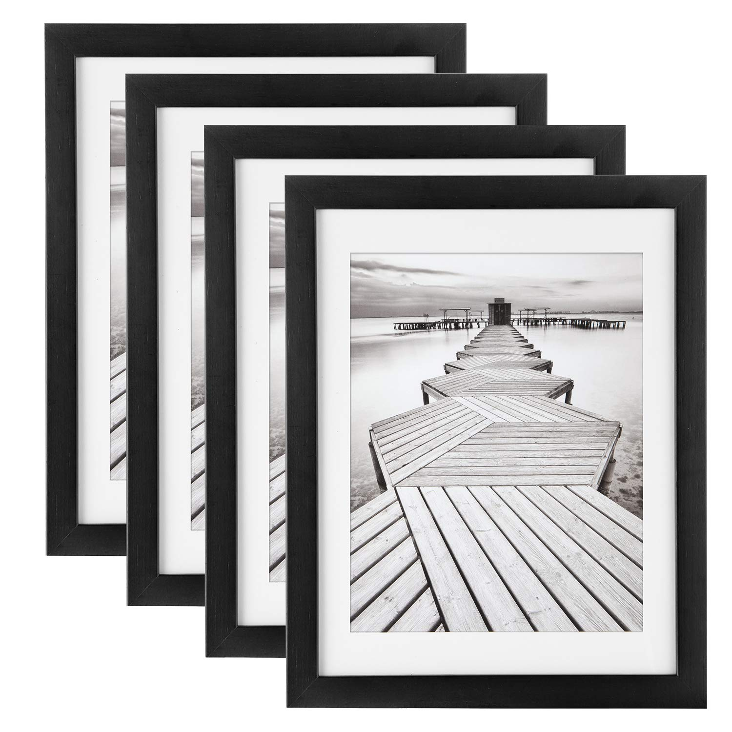 UnityStar 11x14 Picture Frames, Matted to 8x10 Frame, Solid Wood and Tempered Glass, Wall Mounting Photo Frame for Wedding Party Family, 4-Pack, Black by UnityStar