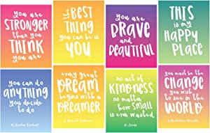 """Focus and Zeal Inspirational Wall Art 8 Pack - 8 Different Motivational Quotes for Girls on 8""""x10"""" Wall Prints - Great Posters for Girl's Bedrooms, Dorms, and Homes"""
