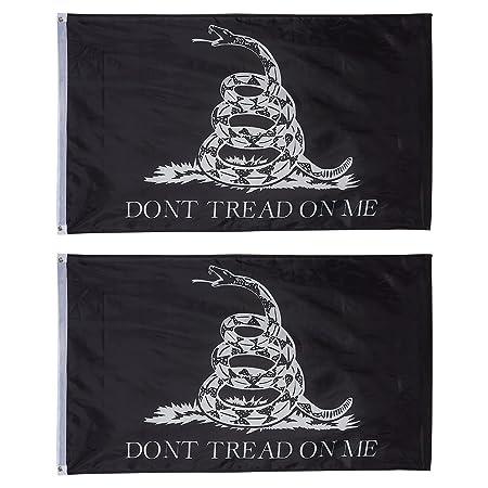 """Gadsden 2/'x3/' /""""Don/'t Tread on Me/"""" Black Flag w// Brass Grommets"""