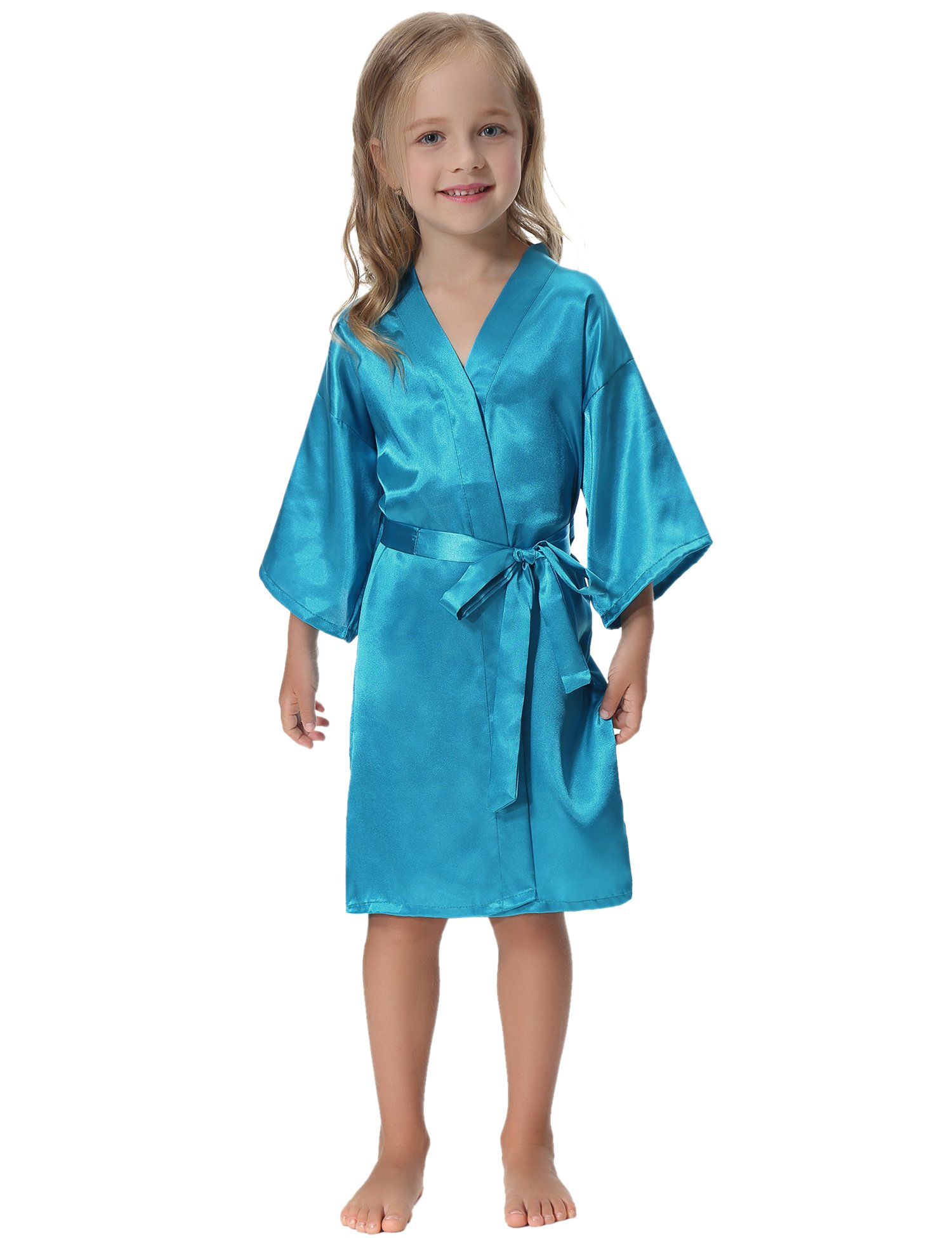 Aibrou Kids' Satin Kimono Robe Bathrobe Nightgown For Spa Party Wedding Birthday by Aibrou