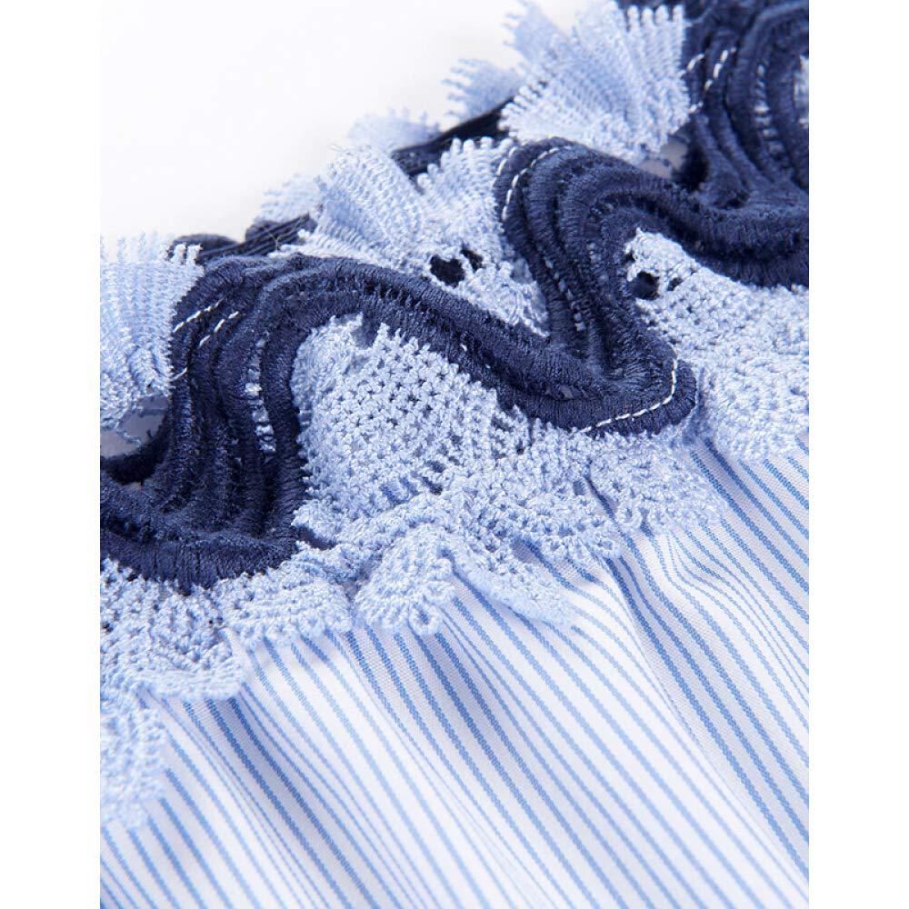 First Fashion Fly 2019 Summer New Womens Fresh Blue Light Short-Sleeved Dress Light Blue Stripes