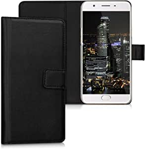kwmobile Wallet Case for Oppo F1s - Protective PU Leather Flip Cover with Magnetic Closure, Card Slots and Kickstand