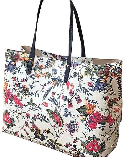 7d6ee08289a Tory Burch Kerrington Large Square Tote Garden New Ivory Gabriella Floral   Handbags  Amazon.com