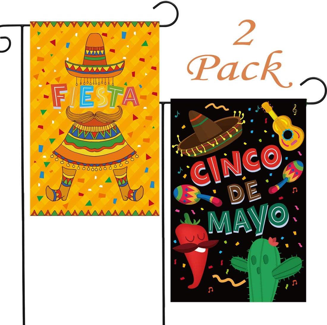 HomyPlaza Cinco de Mayo Bandera de jardín 2 Pack Fiesta Home Yard ...