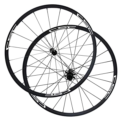 LOLTRA Juego de Ruedas para Bicicleta de Carretera, sin Tubo, Ruedas de Carbono Tubular