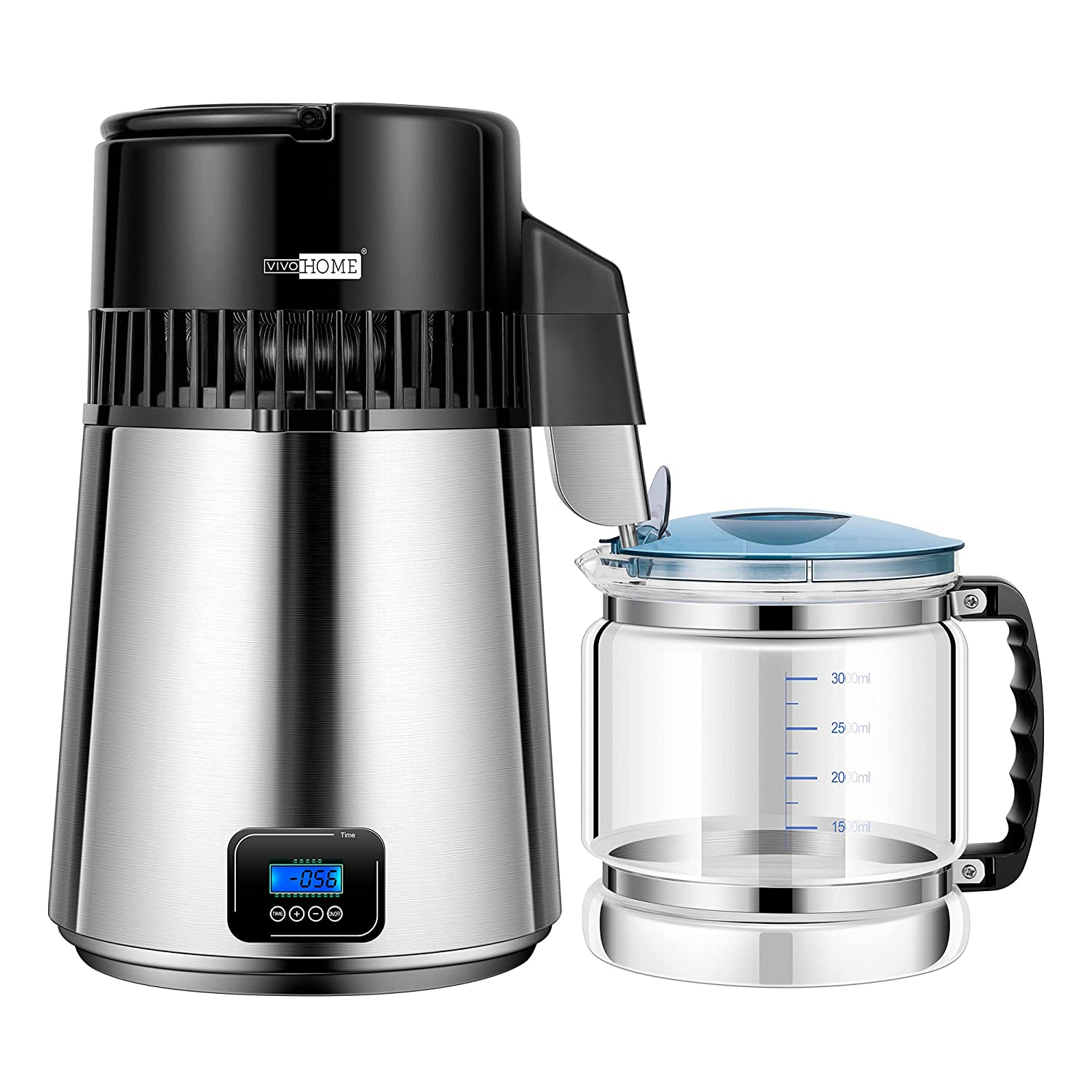 VIVOHOME Digital Control 4L 750W 304 Stainless Steel Water Distiller Countertop with LCD Screen Distilled Water Machine for Home Office