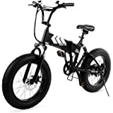 Swagtron EB-8 Fat Tire Electric Bike – Foldable Off-Road Fat 20-inch Wheels Electric Bicycle with Power Assist, Shimano 7-Speed Gear Shifts