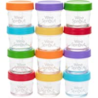 WeeSprout Glass Baby Food Storage Containers | 12 Set | 4 oz Baby Food Jars with Lids | Freezer Storage | Reusable Small…