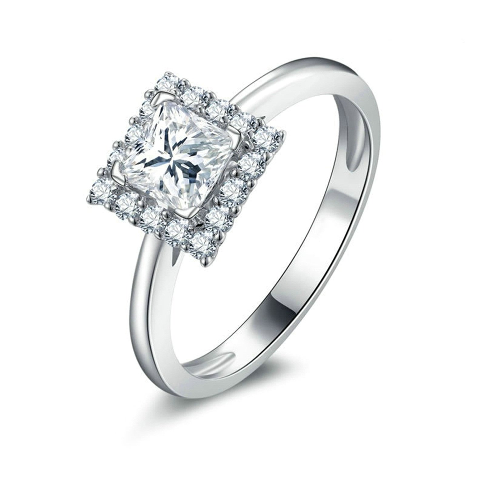Daesar Engagement Rings Zirconia 4-Prong Setting Princess & Round Cut Crystal Ring Size 9