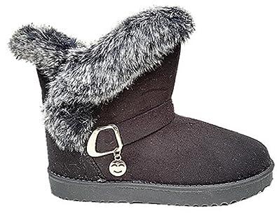 77969e4b78ac3 fashionfolie Bottine Femme Fourrure Botte Fourrées Fur Hiver Talon  Chaussure Fille Noir 32305 (37)