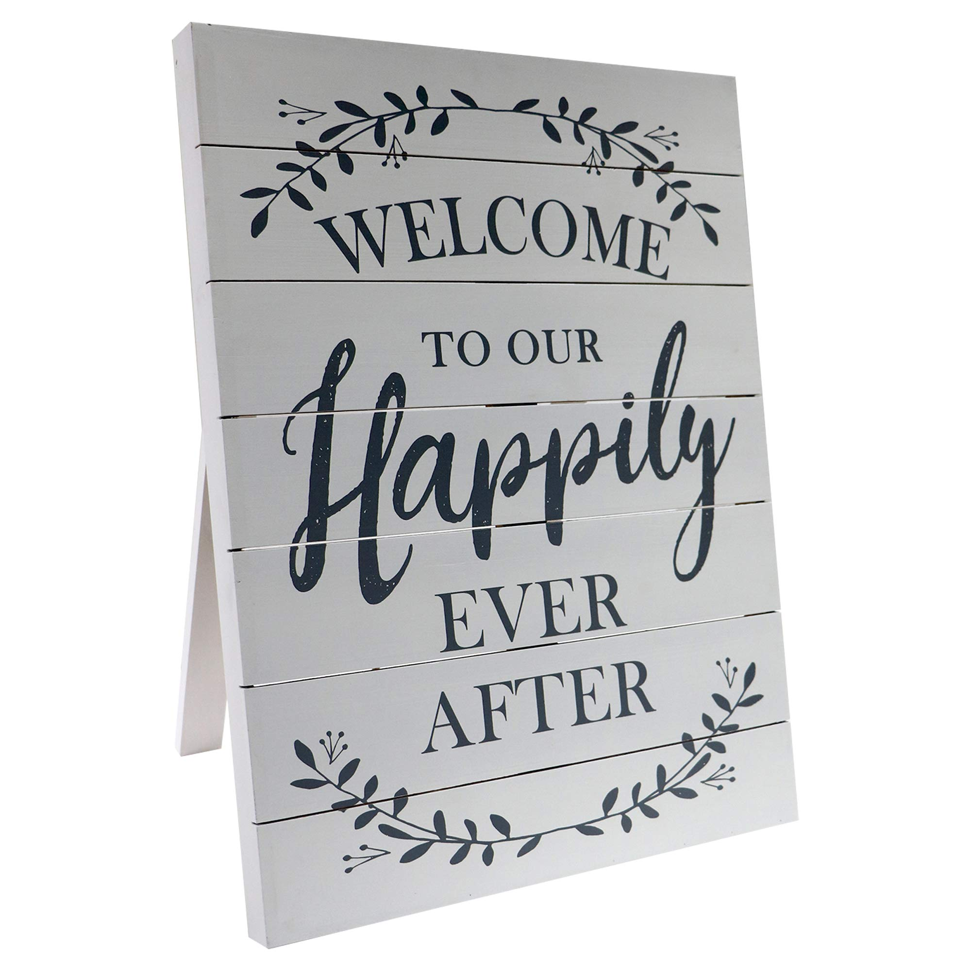 Barnyard Designs Welcome to Our Happily Ever After Sign Rustic Vintage Decor for Weddings and Home 23.5'' x 17.75'' by Barnyard Designs