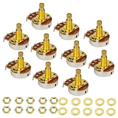 IKN 10pcs Guitarra Full Size Potenciómetros A250K Corto L18mm Potenciómetros de Volumen de Volumen de Audio