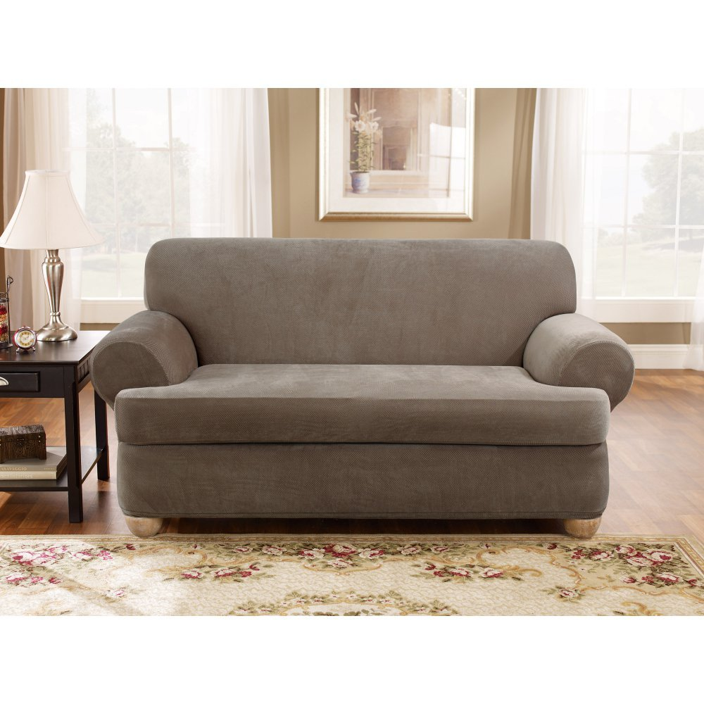 Sure Fit Stretch Pique 3-Piece  - Loveseat Slipcover  - Taupe (SF37942) by Surefit
