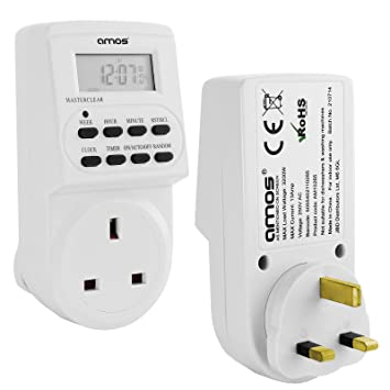 AMOS Digital Timer Plug Switch 12 / 24 Hour 7 Day Socket Programmable Mains  LCD Display UK 3 Pin Wall Plug In Electronic AM / PM 12hr / 24hr Time