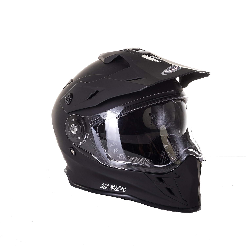 M MOTOCROSS CASCO FLAME RX-V288 ADULTOS OFF ROAD VISERA DOBLE MOTO ENDURO ECE HOMOLOGADO ATV QUAD CARRERAS CASCO NEGRO MATE 57-58 CM