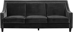 Iconic Home Camren Sofa Velvet Upholstered Swoop Arm Silver Nailhead Trim Espresso Finished Wood Legs Couch Modern Contemporary, Black