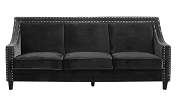 Enjoyable Iconic Home Fsa9002 An Camren Sofa Velvet Upholstered Swoop Arm Silver Nailhead Trim Espresso Finished Wood Legs Couch Modern Contemporary Black Pdpeps Interior Chair Design Pdpepsorg