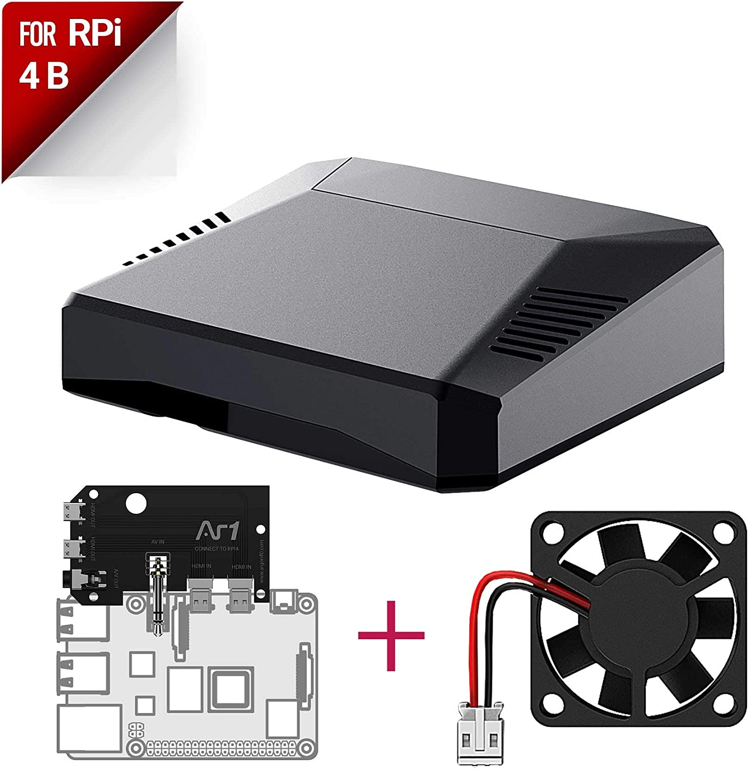 Argon ONE Raspberry Pi 4 Case with Cooling Fan | Aluminum Heatsink | Power Button | Supports Retro Gaming, Movies, and Music | for Raspberry Pi 4 Model B