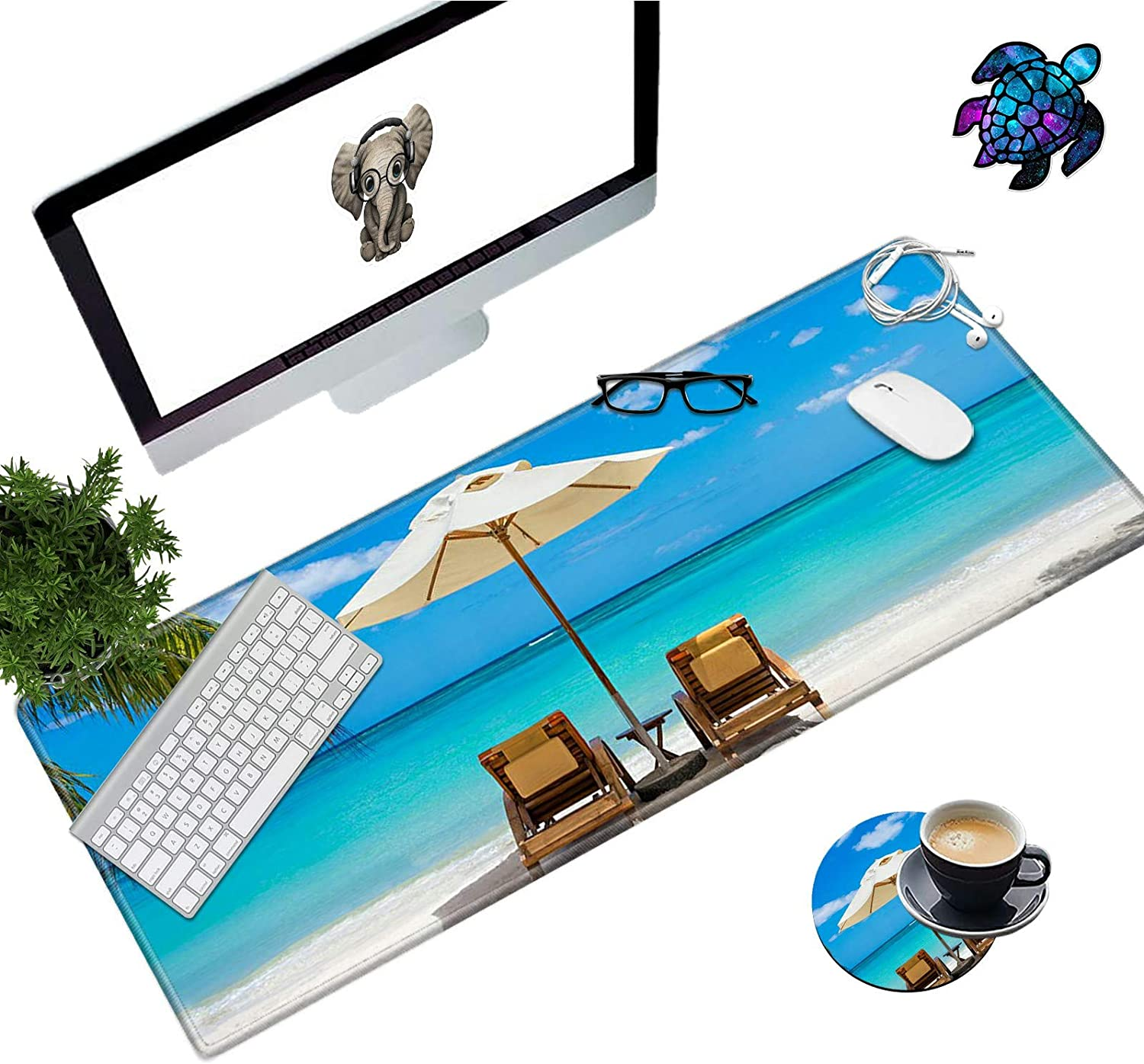 Desk Pad Mat Large Mouse Pad XL Extended Mousepad Gaming with Sea Beach 31.5