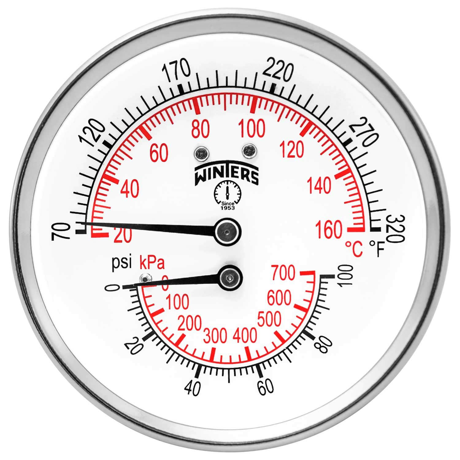 Winters TTD Series Steel Dual Scale Tridicator Thermometer with 2'' Stem, 0-100psi/kpa, 3'' Dial Display, ±3-2-3% Accuracy, 1/2'' NPT Back Mount, 70-320 Deg F/C