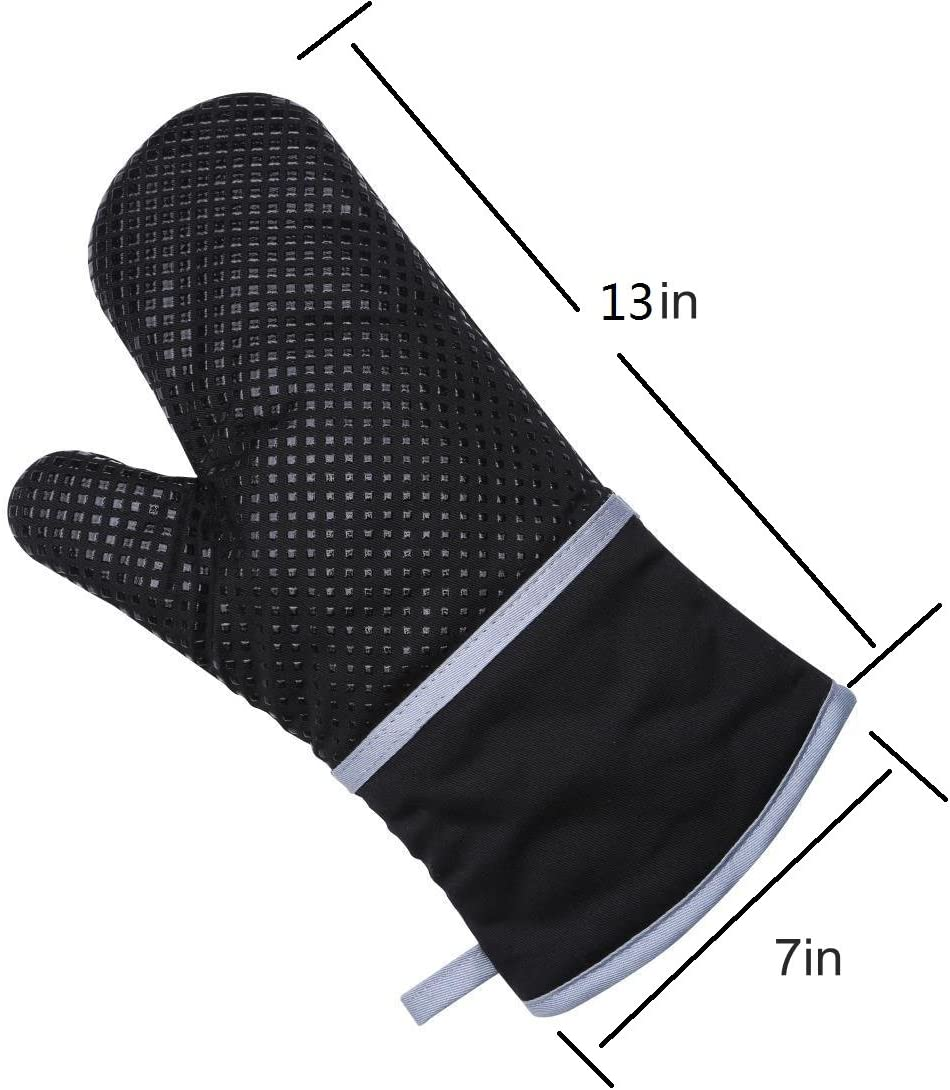 ZXJOY Maniques Coton recycl/é et Coque en Silicone R/ésistant /à la Chaleur Gants de Cuisine Fixation /éponge Doublure Maniques