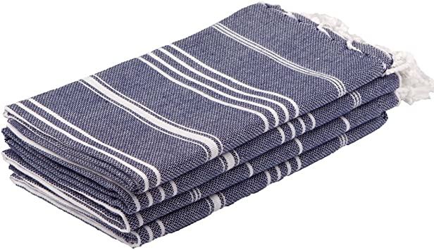 Amazon Com Clotho Towels Turkish Hand Towel Set Of 4 Midnight Blue For Decorative Bathroom Kitchen Dining