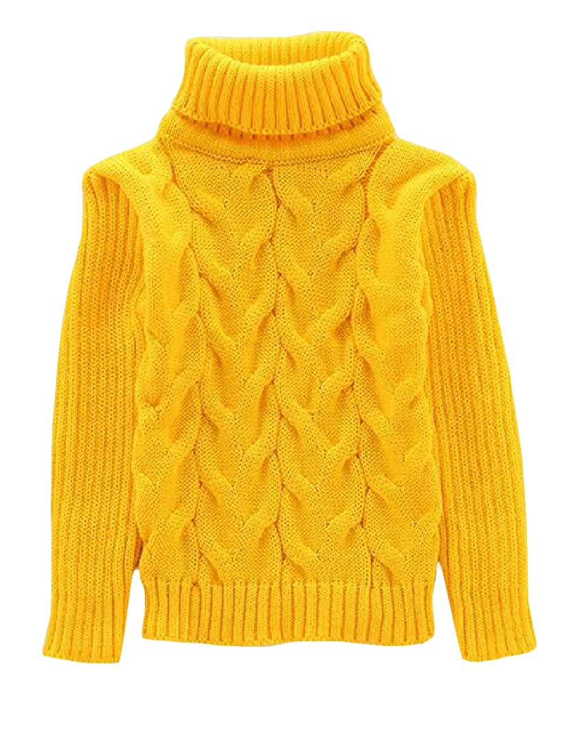 Cromoncent Girl Winter Turtle Neck Cable Knit Stretchy Pullover Jumper Sweaters