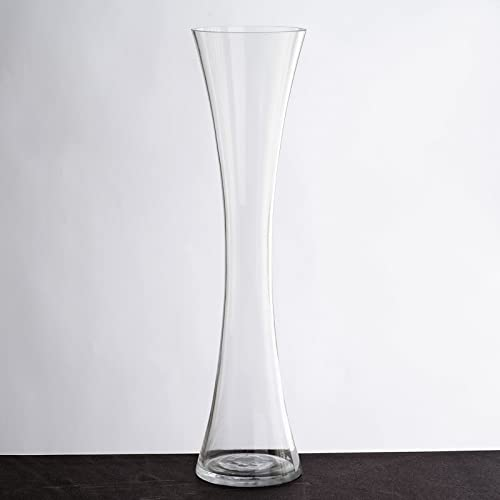 BalsaCircle 6 pcs 20 Tall Clear Glass Hourglass Vases for Wedding Party Flowers Centerpieces Home Decorations Bulk Supplies