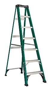 Louisville Ladder 7-Foot Fiberglass Step Ladder, 225-Pound Duty Rating, FS4007, Green