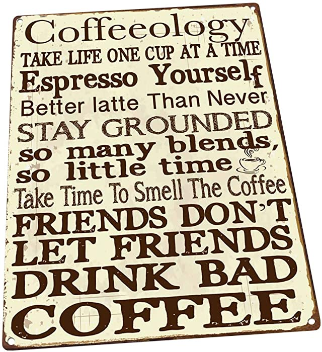 HBA Coffeeology Metal Sign, Coffee Lovers, Kitchen Decor, Cafe Decor