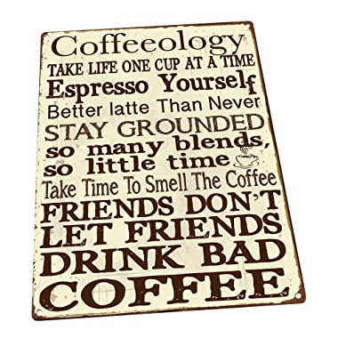 Coffeeology Metal Sign, Coffee Lovers, Kitchen Decor, Cafe Decor