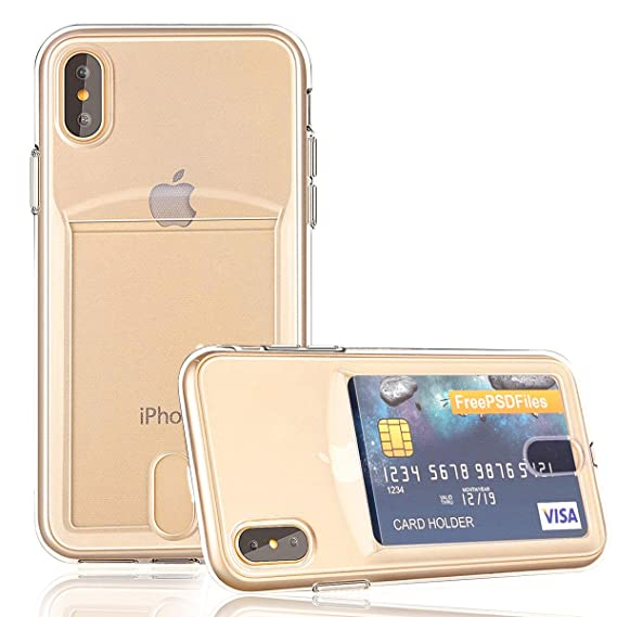 reputable site 7489a 15105 OBVIS for iPhone X Xs Slim Fit Clear TPU Gel Shockproof Case Cover for  iPhone X Xs with Card Holder (Transparent)