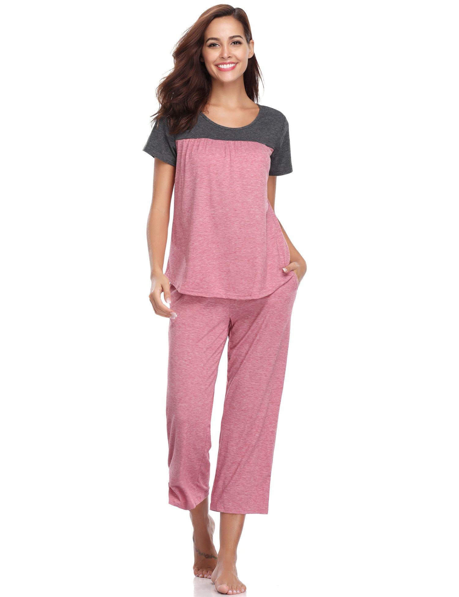 Aibrou Women's Sleepwear Cotton Short Sleeve Pleated Stitching Top and Capri Pant Pajama Set