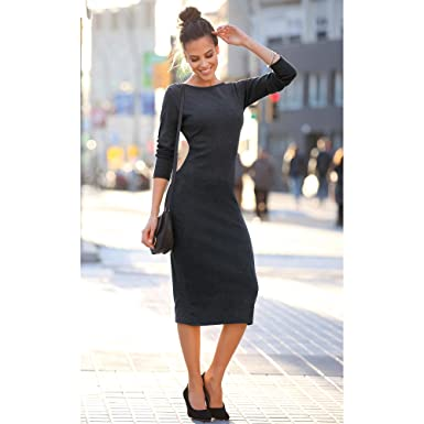54b0c6ff178 VENCA Women s midi Dress in Ribbed Knit with Boat Neckline and Long Sleeves   Amazon.co.uk  Clothing