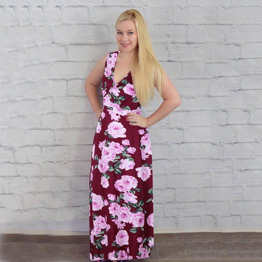 1ba4a3fee ALIKEEY Mujeres Sin Mangas Vestido De Lactancia Embarazo Maternidad Vestido  Largo Estampado Floral Ultrasensibles Ovulacion para Dummies Wonderful  ...