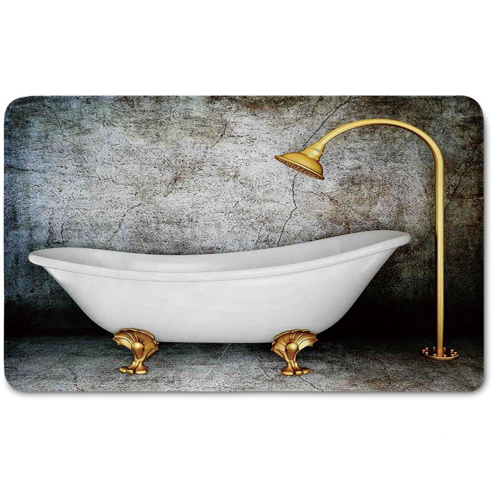 Memory Foam Bath Mat,Retro,Vintage Bathtub in Room With Grunge Wall Lifestyle Resting Spa Theme Art PrintPlush Wanderlust Bathroom Decor Mat Rug Carpet with Anti-Slip Backing,Grey White Gold