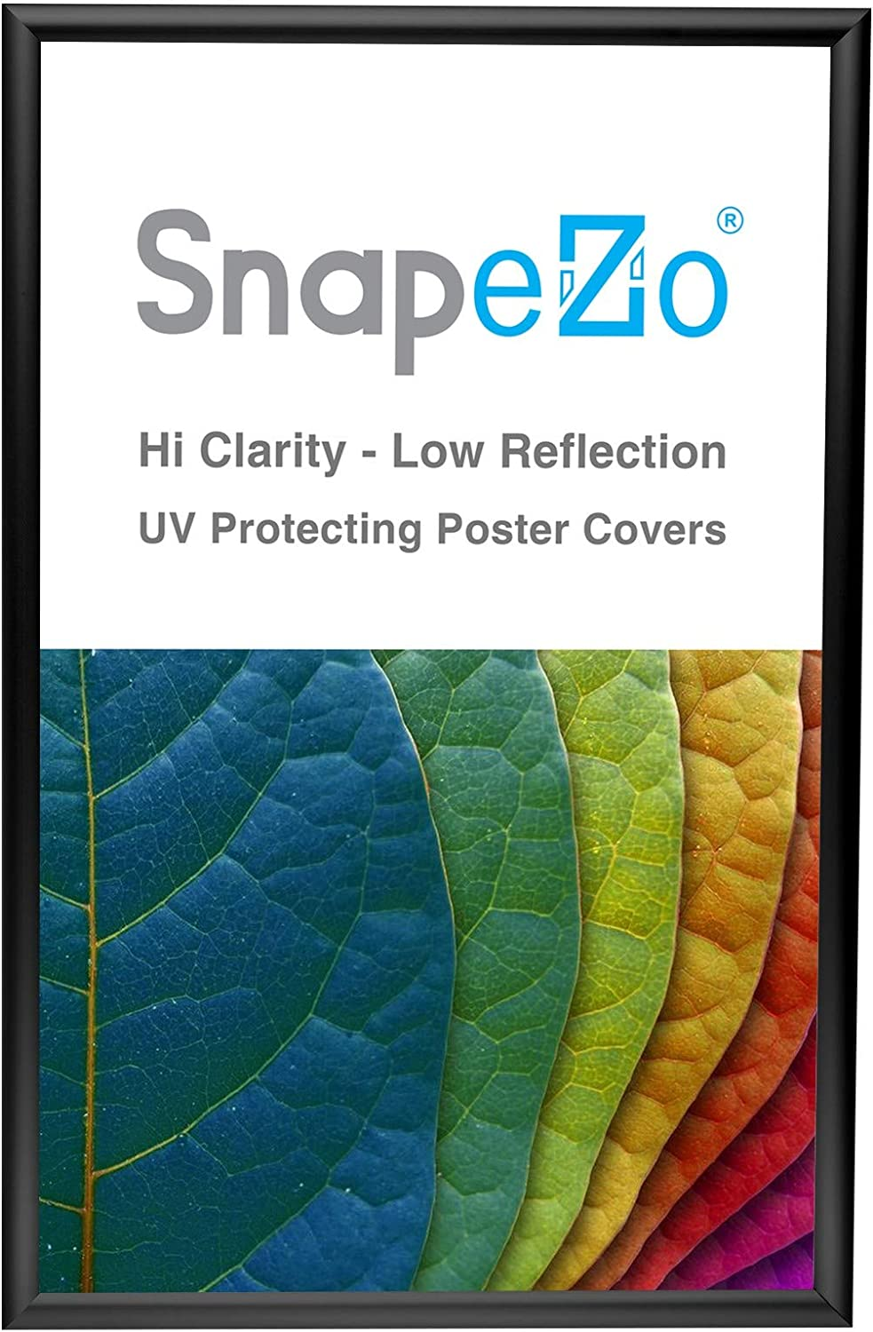 SnapeZo Black Poster Frame 14x22 Inches, 1 Inch Aluminum Profile, Front-Loading Snap Frame, Wall Mounting, Sleek Series