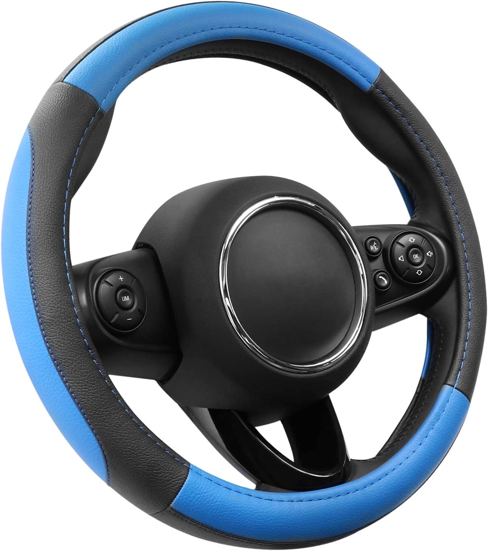 Cofit Lenkradhülle Lenkrad Abdeckung Lenkradbezug Aus Mikrofaser Leder S 35 5 36cm Blau Schwarz Auto