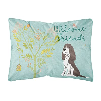 Caroline's Treasures BB7622PW1216 Welcome Friends Brown Springer Spaniel Canvas Fabric Decorative Pillow, 12H x16W, Multicolor : Garden & Outdoor