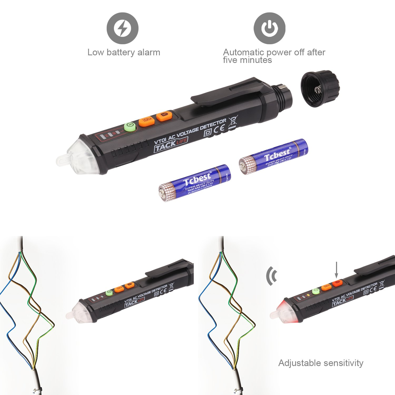 Non Contact Voltage Tester Tacklife Advanced Ac Detector Electric Noncontact The Home Depot Canada Adjustable Sensitivity Dual Range 12v 1000v 48v With Led Flashlight Alarm Mode