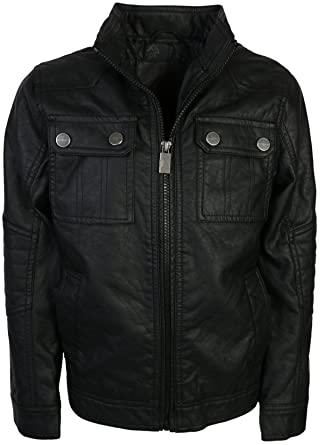 067401c5e03 Amazon.com  Urban Republic Boy s Faux Leather Officer Jacket  Clothing