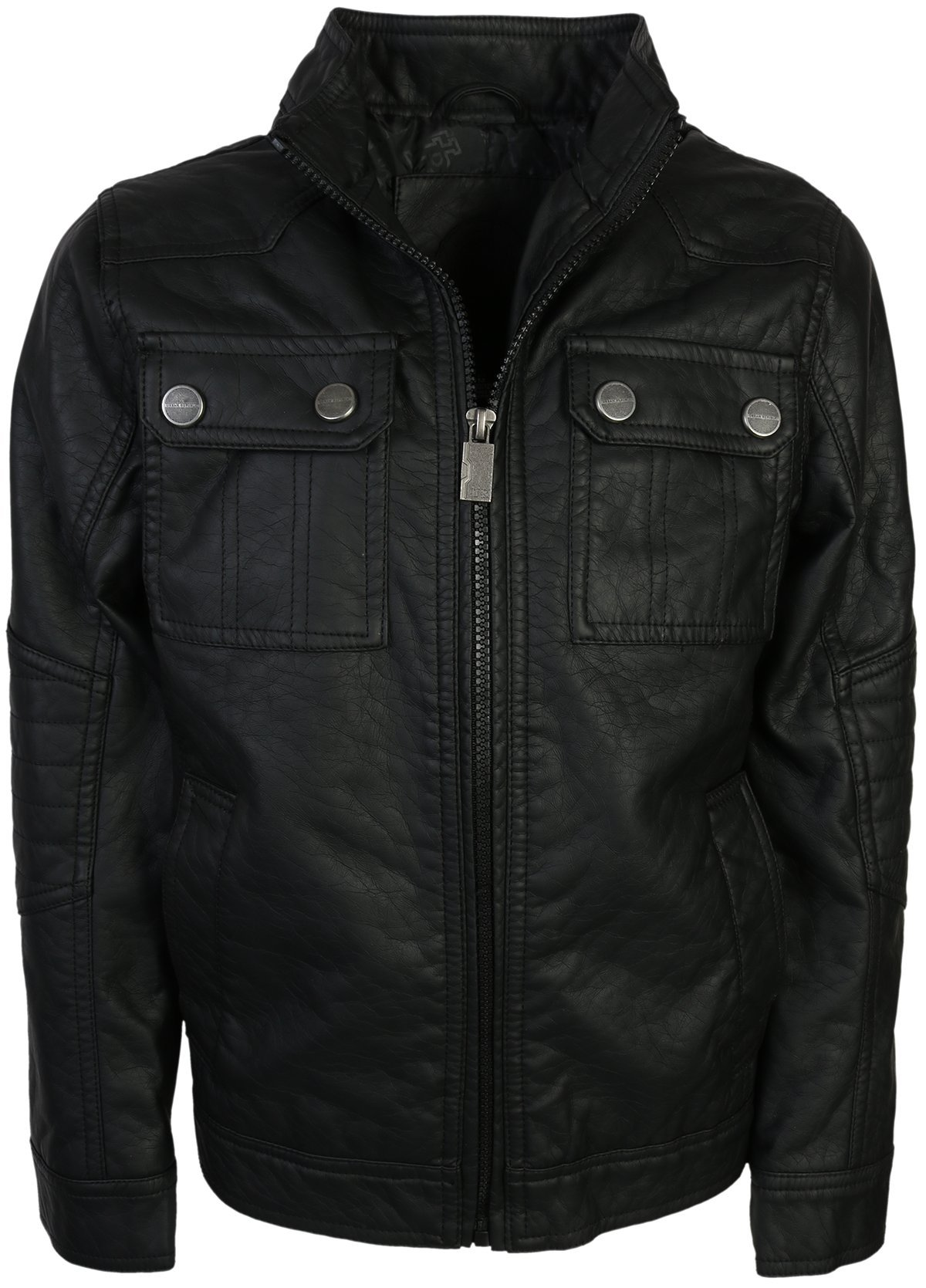 Urban Republic Boy's Faux Leather Officer Jacket, Black, Size 8' by Urban Republic
