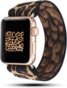 YOSWAN Stretchy Loop Strap Compatible for Apple Watch Band 40mm 38mm 44mm 42mm iWatch Series 6/5/4/3/2/1 Stretch Elastics Wristbelt (Cheetah/Leopard, 42mm/44mm)